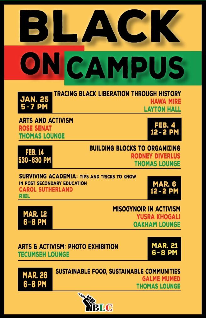 Black On Campus calender